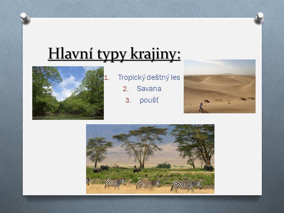 Hlavní typy krajiny: Tropický deštný les Savana poušť