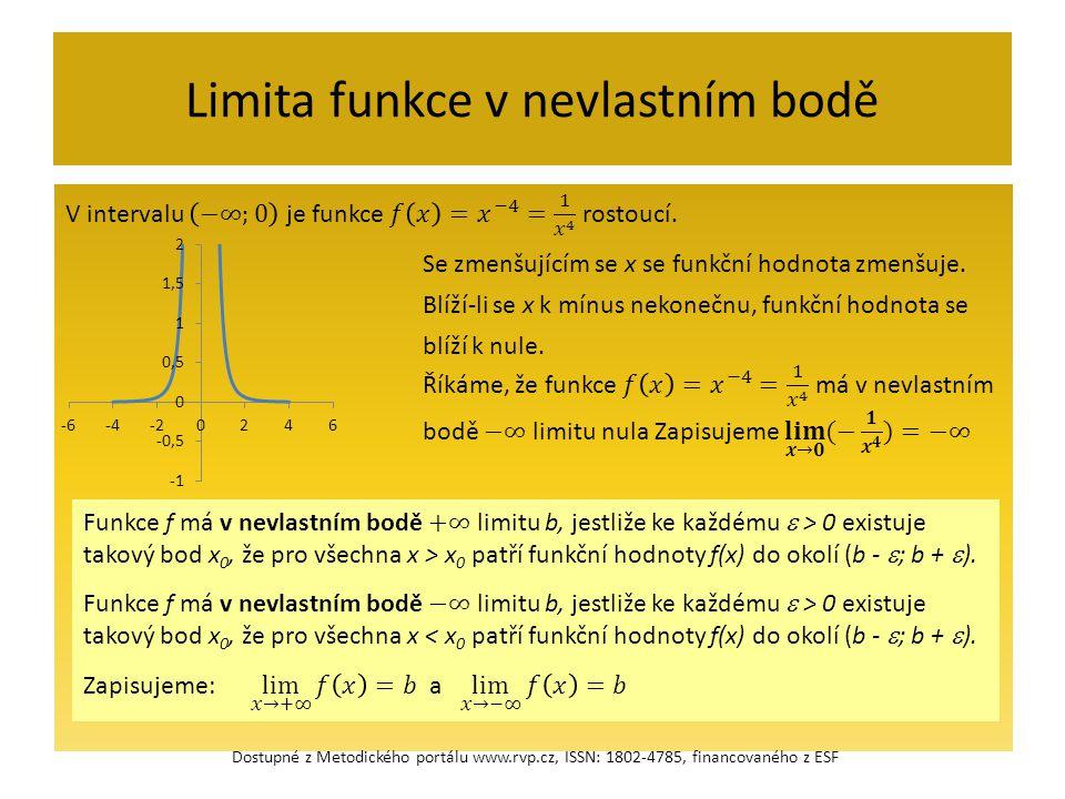 Limita funkce v nevlastním bodě