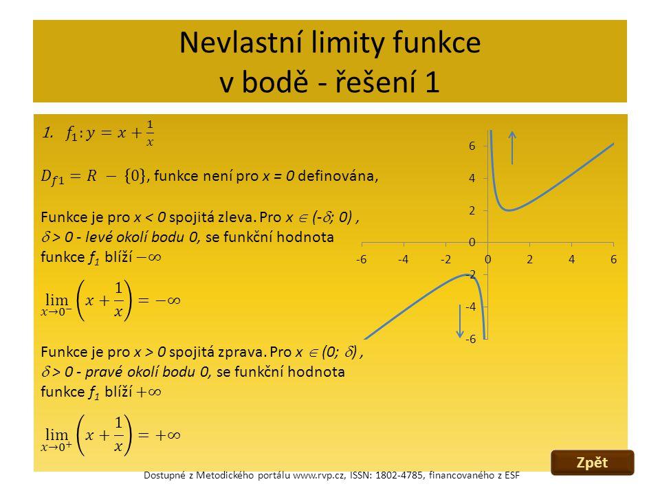 Nevlastní limity funkce v bodě - řešení 1