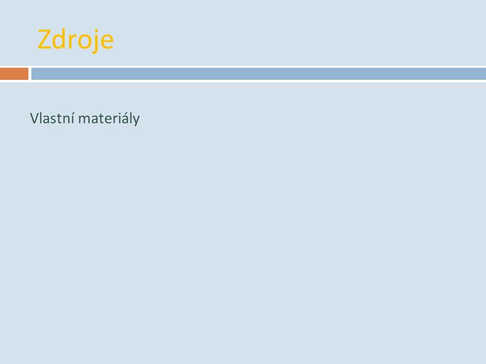 Zdroje Vlastní materiály