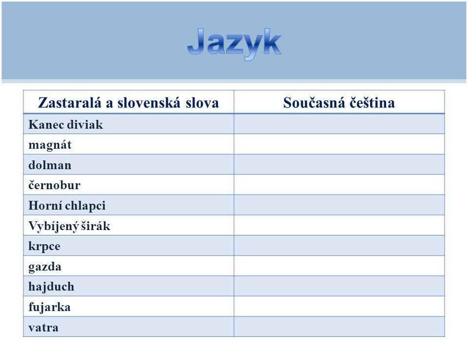 Zastaralá a slovenská slova