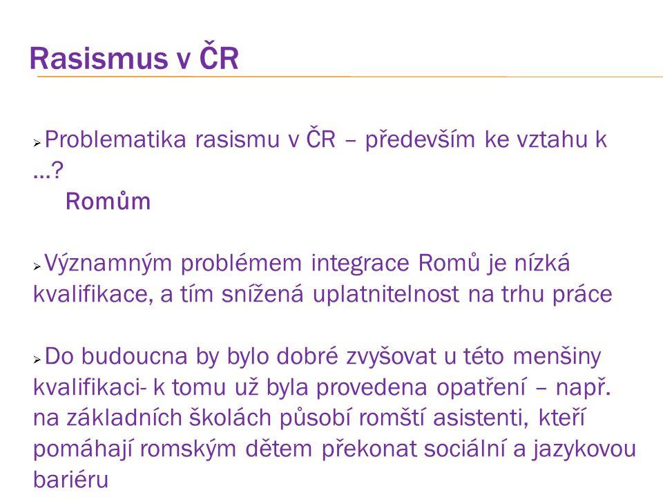 Rasismus v ČR Problematika rasismu v ČR – především ke vztahu k ...
