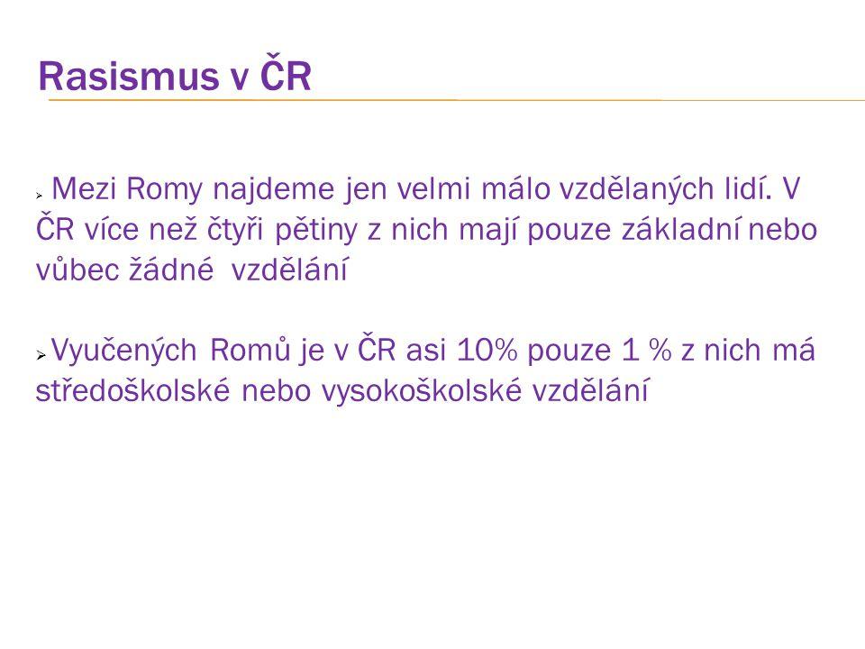 Rasismus v ČR Mezi Romy najdeme jen velmi málo vzdělaných lidí. V ČR více než čtyři pětiny z nich mají pouze základní nebo vůbec žádné vzdělání.