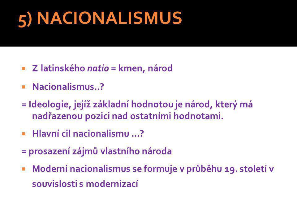 5) NACIONALISMUS Z latinského natio = kmen, národ Nacionalismus..