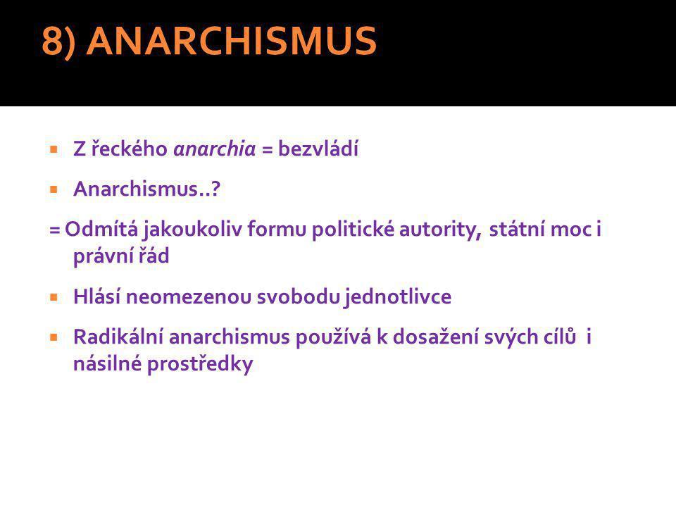 8) ANARCHISMUS Z řeckého anarchia = bezvládí Anarchismus..