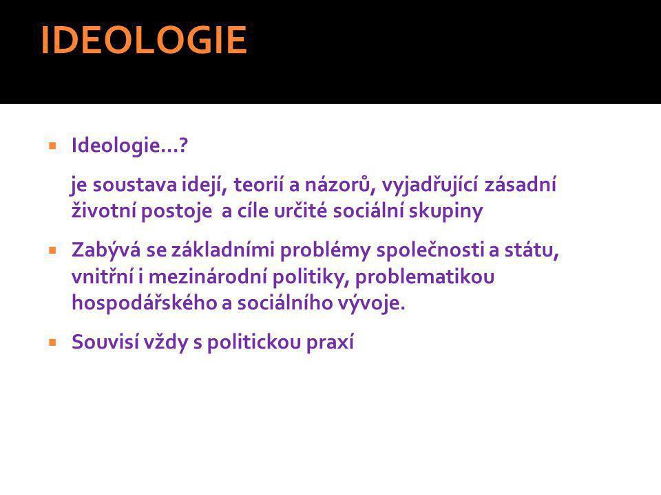 IDEOLOGIE Ideologie... je soustava idejí, teorií a názorů, vyjadřující zásadní životní postoje a cíle určité sociální skupiny.