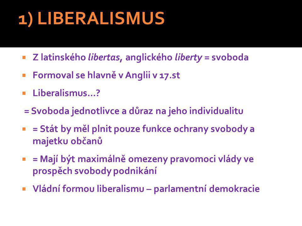 1) LIBERALISMUS Z latinského libertas, anglického liberty = svoboda
