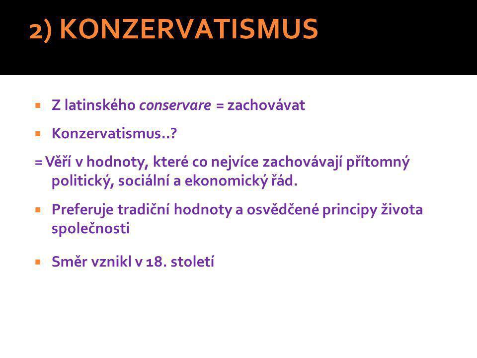 2) KONZERVATISMUS Z latinského conservare = zachovávat