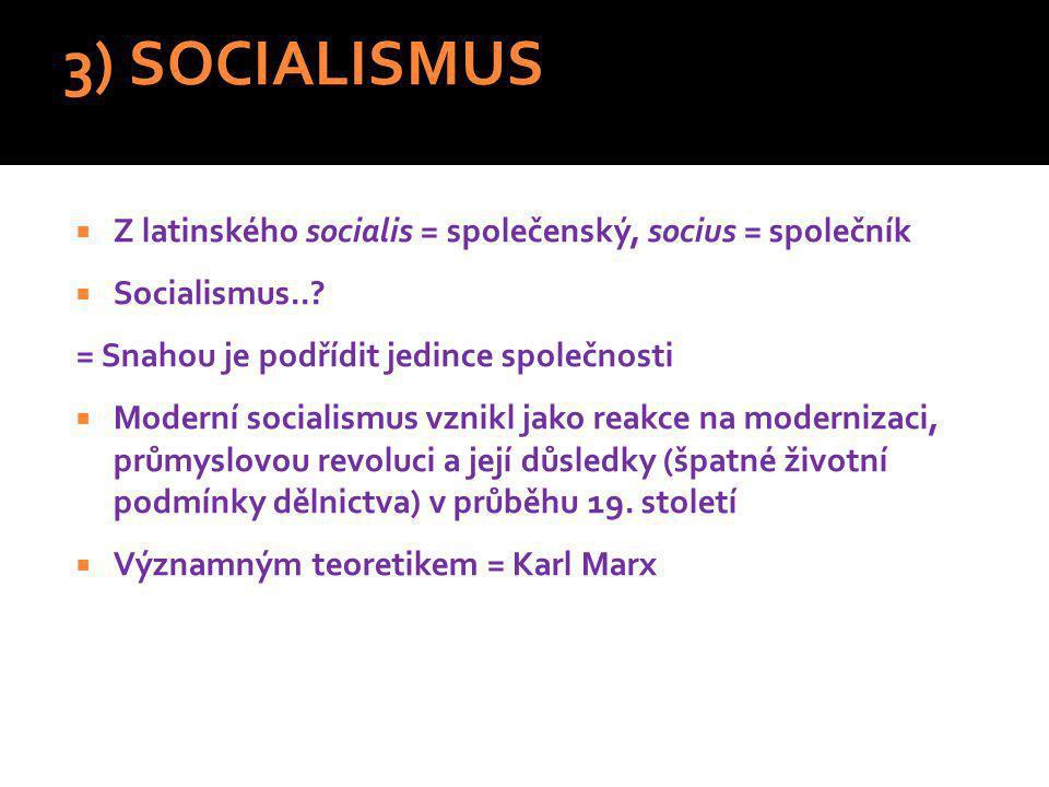 3) SOCIALISMUS Z latinského socialis = společenský, socius = společník