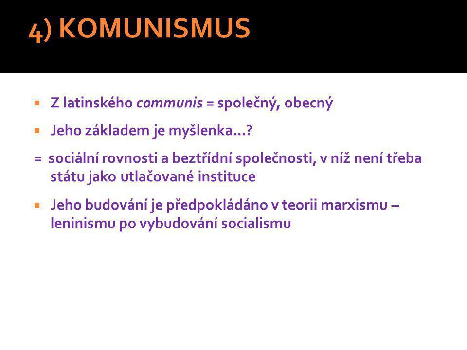 4) KOMUNISMUS Z latinského communis = společný, obecný