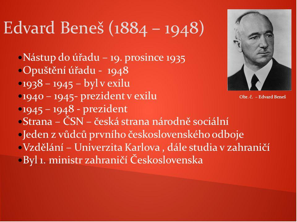 Edvard Beneš (1884 – 1948) Nástup do úřadu – 19. prosince 1935