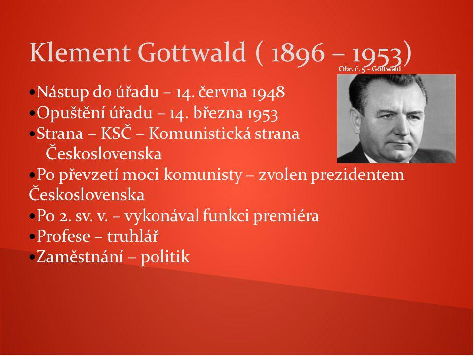 Klement Gottwald ( 1896 – 1953) Nástup do úřadu – 14. června 1948