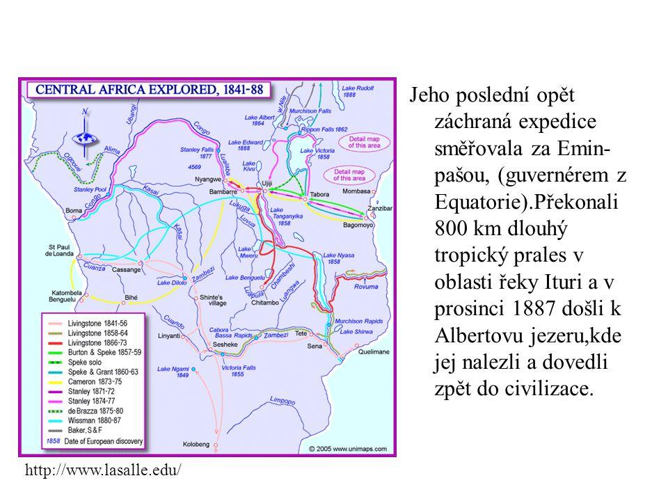 Jeho poslední opět záchraná expedice směřovala za Emin-pašou, (guvernérem z Equatorie).Překonali 800 km dlouhý tropický prales v oblasti řeky Ituri a v prosinci 1887 došli k Albertovu jezeru,kde jej nalezli a dovedli zpět do civilizace.