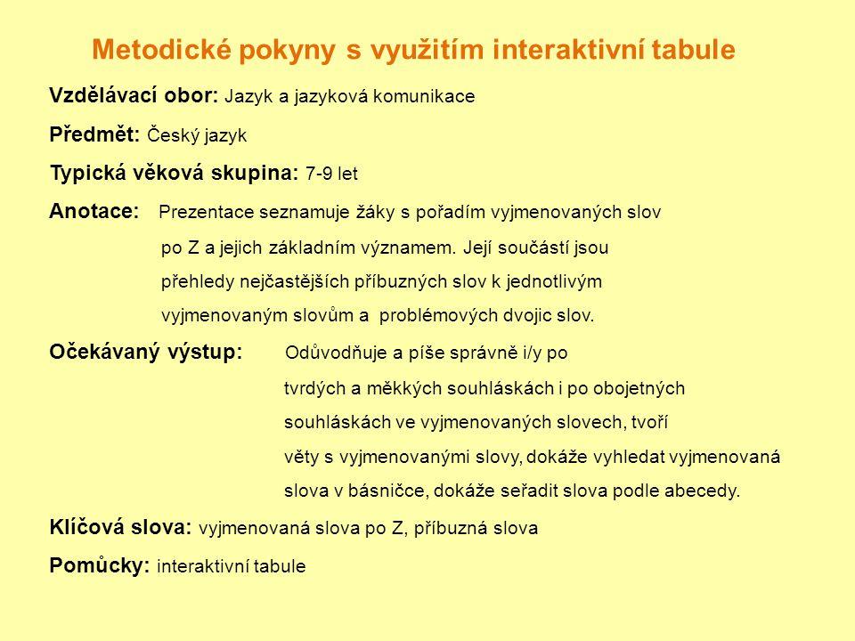 Metodické pokyny s využitím interaktivní tabule