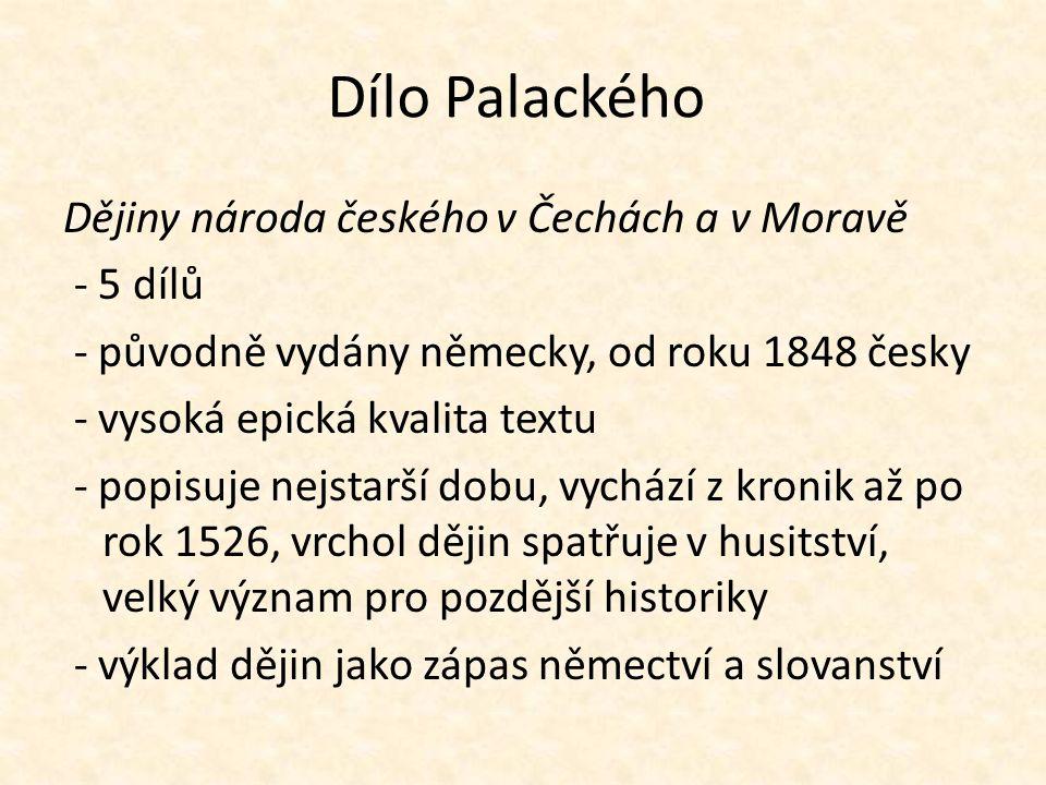 Dílo Palackého Dějiny národa českého v Čechách a v Moravě - 5 dílů
