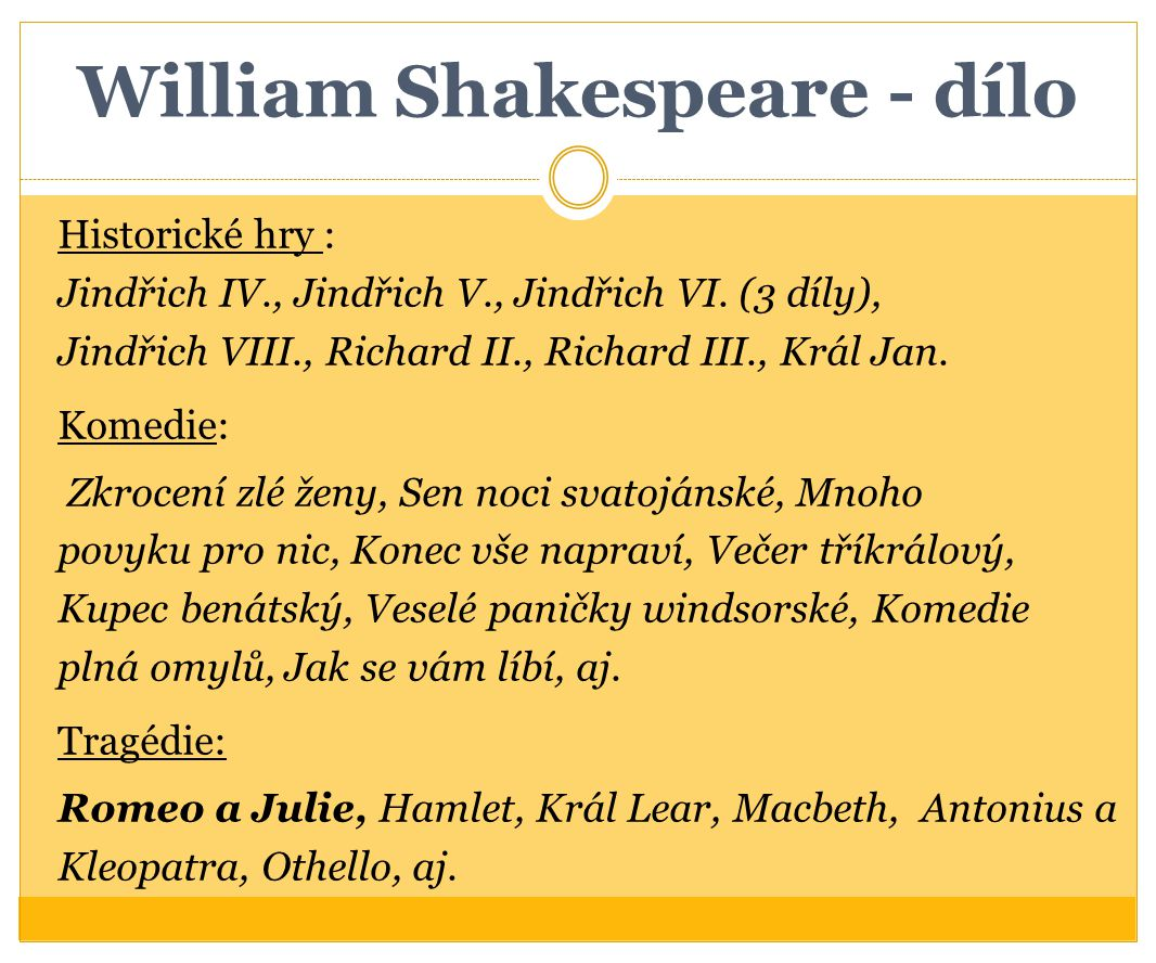 William Shakespeare - dílo