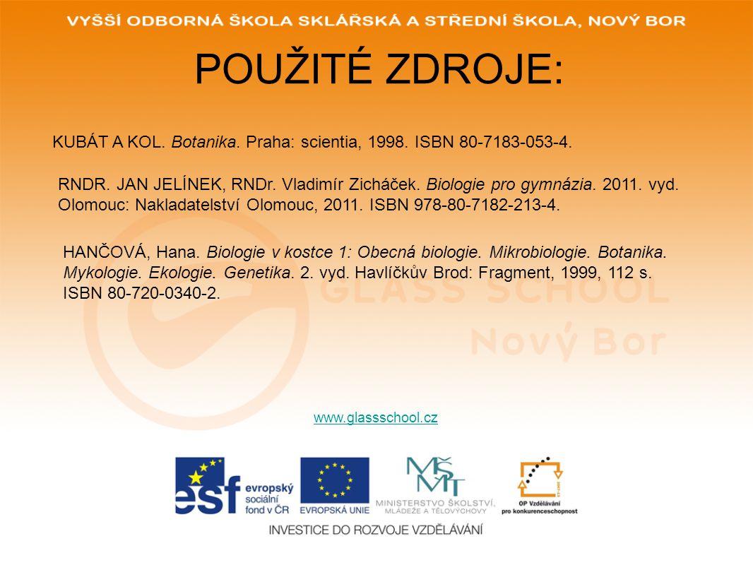 POUŽITÉ ZDROJE: KUBÁT A KOL. Botanika. Praha: scientia, 1998. ISBN 80-7183-053-4.