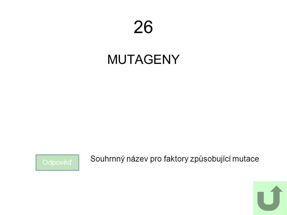 26 MUTAGENY Souhrnný název pro faktory způsobující mutace Odpověď