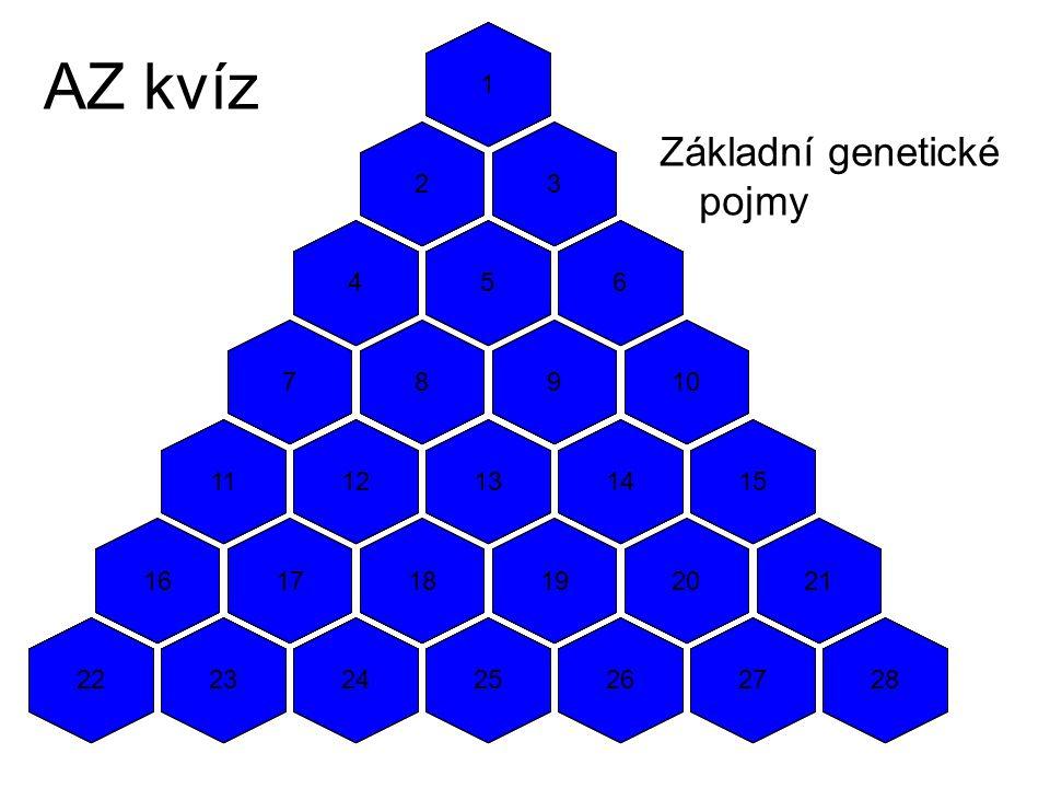 AZ kvíz Základní genetické pojmy 1 1 1 1 2 2 2 2 3 3 3 3 4 4 4 4 5 5 5