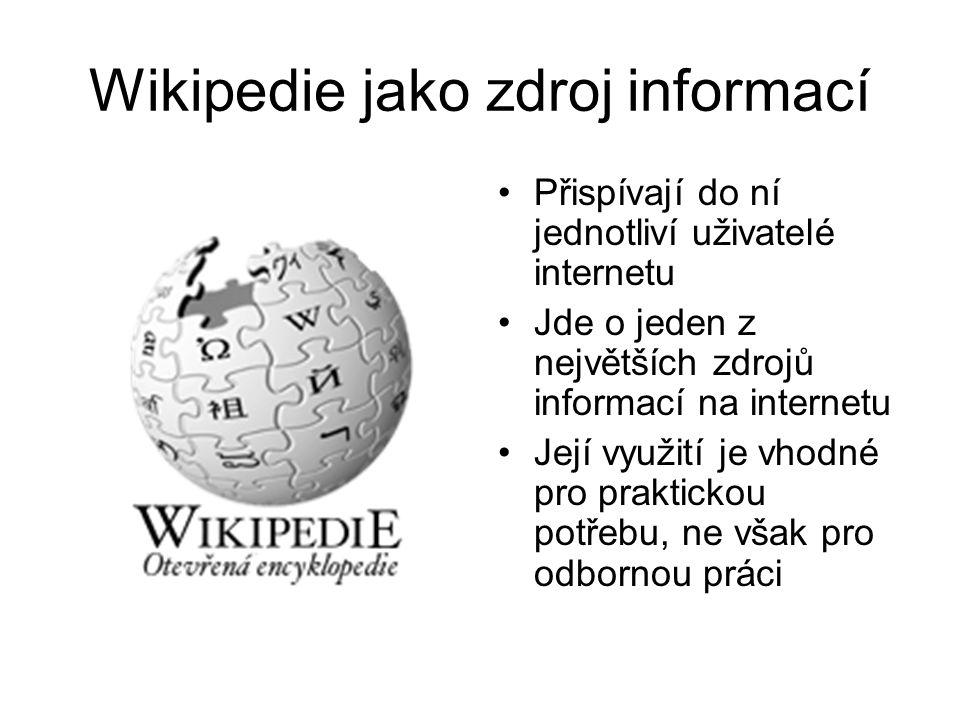 Wikipedie jako zdroj informací