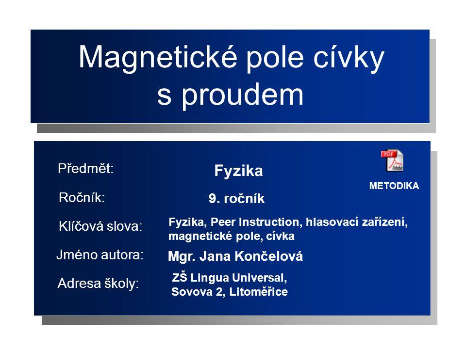Magnetické pole cívky s proudem Fyzika Předmět: Ročník: 9. ročník