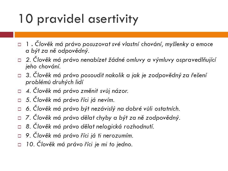 10 pravidel asertivity 1 . Člověk má právo posuzovat své vlastní chování, myšlenky a emoce a být za ně odpovědný.