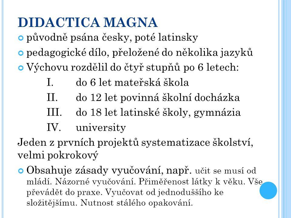 DIDACTICA MAGNA původně psána česky, poté latinsky