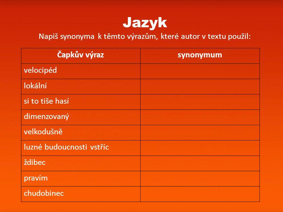 Napiš synonyma k těmto výrazům, které autor v textu použil: