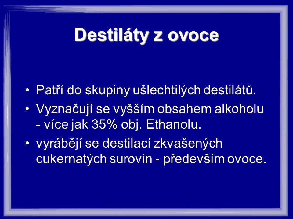 Destiláty z ovoce Patří do skupiny ušlechtilých destilátů.