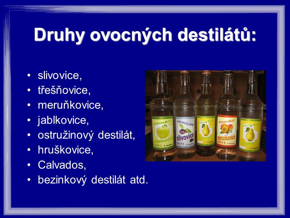 Druhy ovocných destilátů: