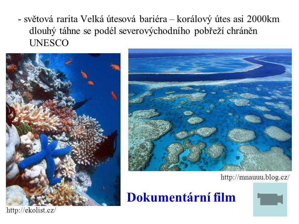 - světová rarita Velká útesová bariéra – korálový útes asi 2000km dlouhý táhne se podél severovýchodního pobřeží chráněn UNESCO