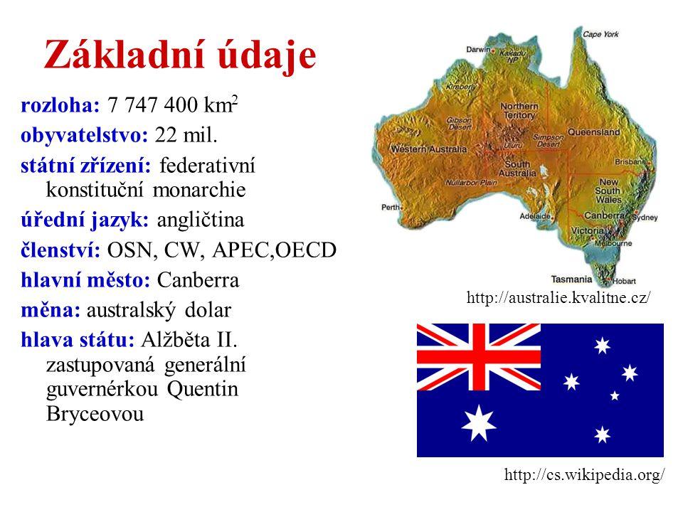 Základní údaje rozloha: 7 747 400 km2 obyvatelstvo: 22 mil.