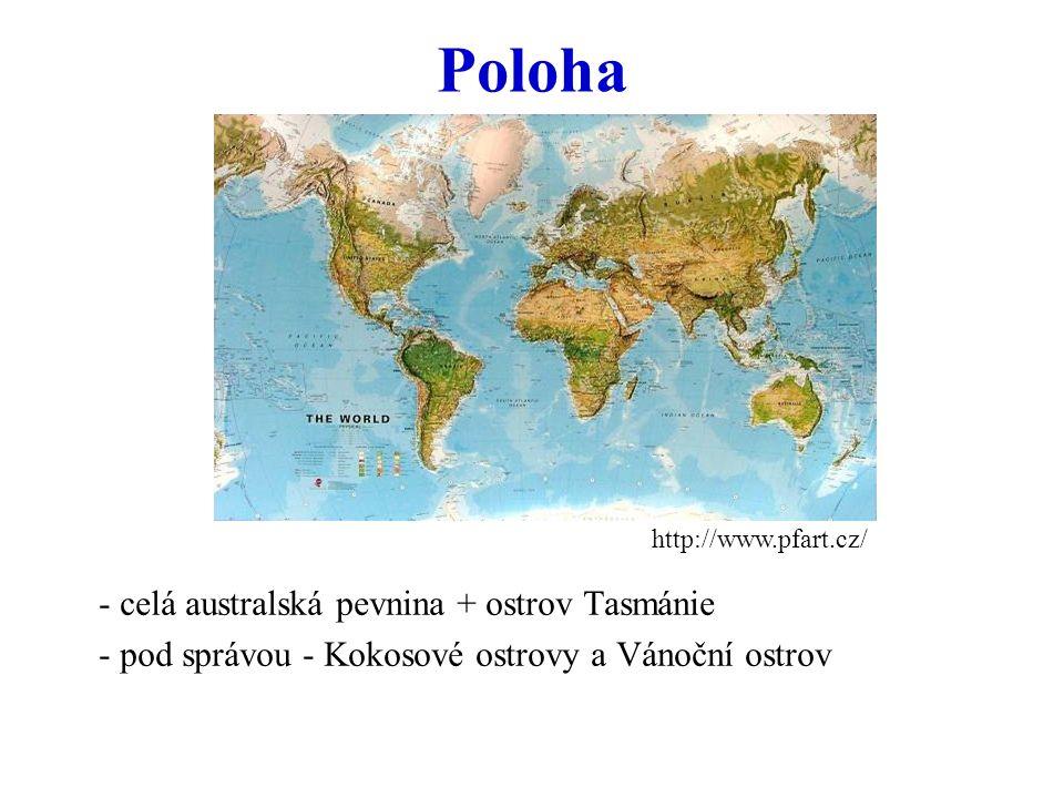 Poloha - celá australská pevnina + ostrov Tasmánie