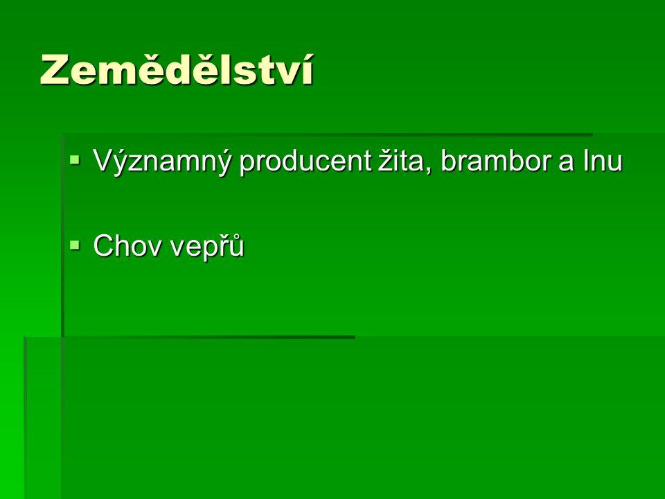 Zemědělství Významný producent žita, brambor a lnu Chov vepřů