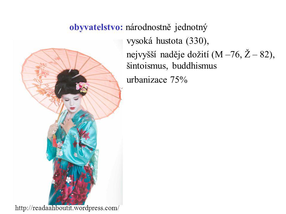 obyvatelstvo: národnostně jednotný vysoká hustota (330), nejvyšší naděje dožití (M –76, Ž – 82), šintoismus, buddhismus urbanizace 75%