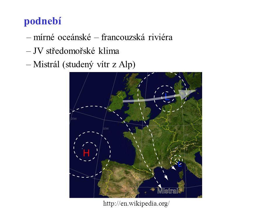 – mírné oceánské – francouzská riviéra