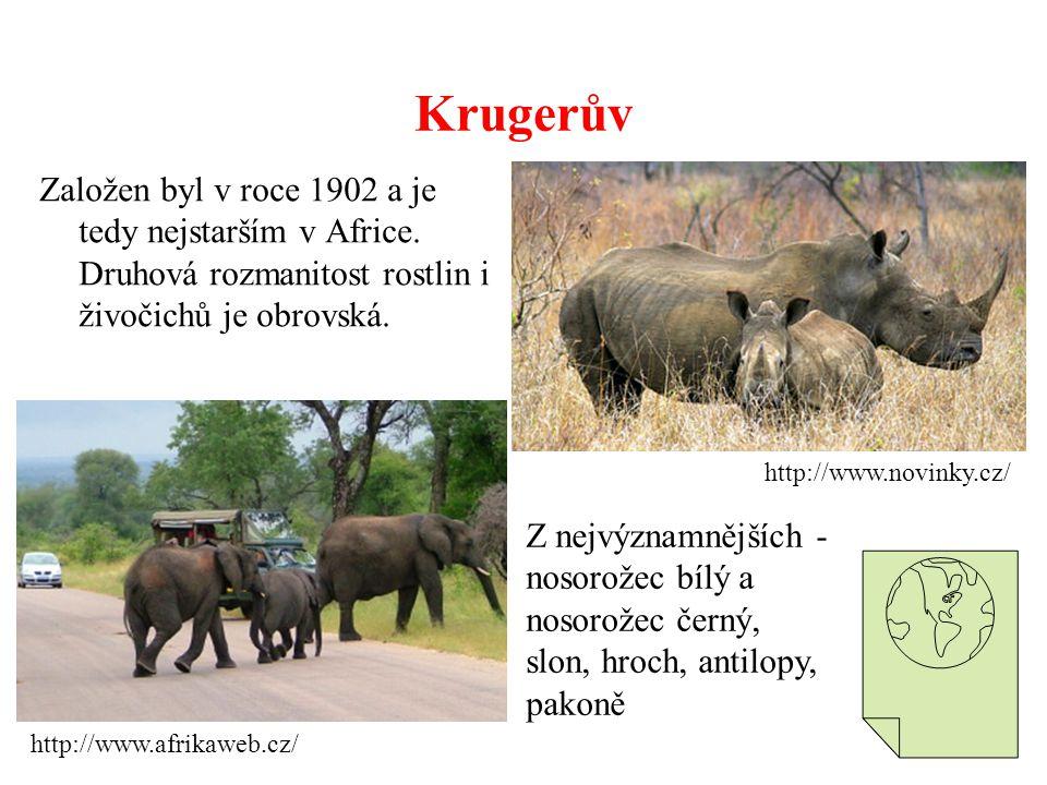 Krugerův Založen byl v roce 1902 a je tedy nejstarším v Africe. Druhová rozmanitost rostlin i živočichů je obrovská.