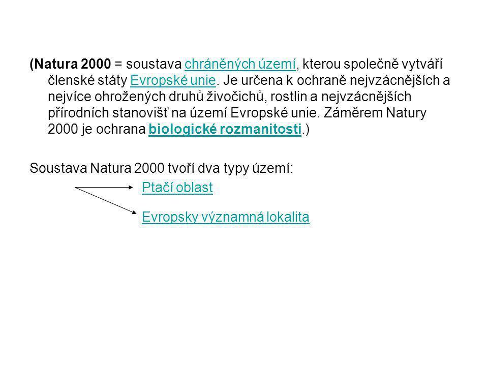 (Natura 2000 = soustava chráněných území, kterou společně vytváří členské státy Evropské unie. Je určena k ochraně nejvzácnějších a nejvíce ohrožených druhů živočichů, rostlin a nejvzácnějších přírodních stanovišť na území Evropské unie. Záměrem Natury 2000 je ochrana biologické rozmanitosti.)