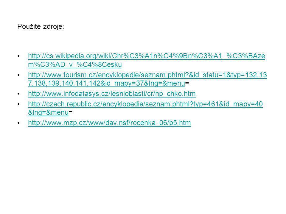 Použité zdroje: http://cs.wikipedia.org/wiki/Chr%C3%A1n%C4%9Bn%C3%A1_%C3%BAzem%C3%AD_v_%C4%8Cesku.