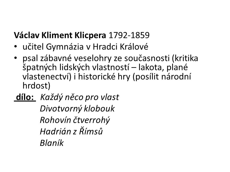 Václav Kliment Klicpera 1792-1859