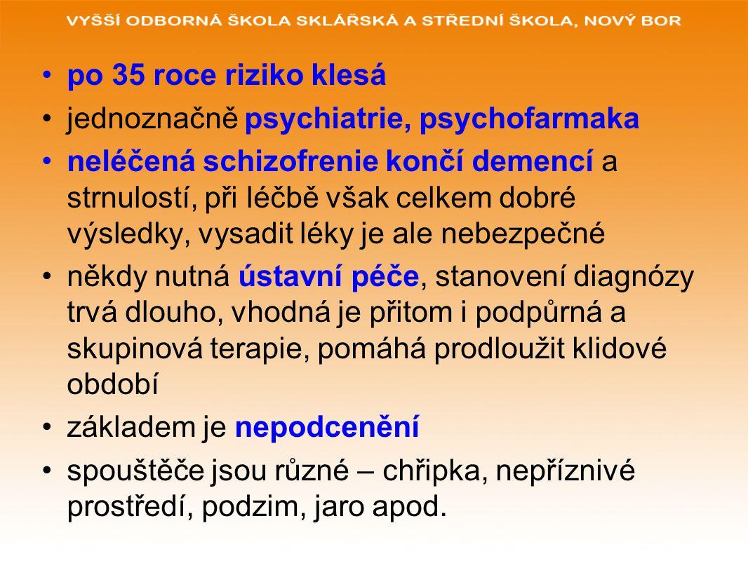 po 35 roce riziko klesá jednoznačně psychiatrie, psychofarmaka.
