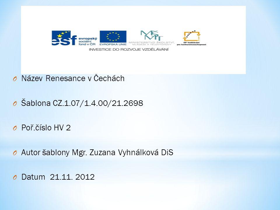 Název Renesance v Čechách