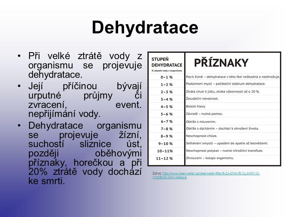 Dehydratace Při velké ztrátě vody z organismu se projevuje dehydratace. Její příčinou bývají urputné průjmy či zvracení, event. nepřijímání vody.