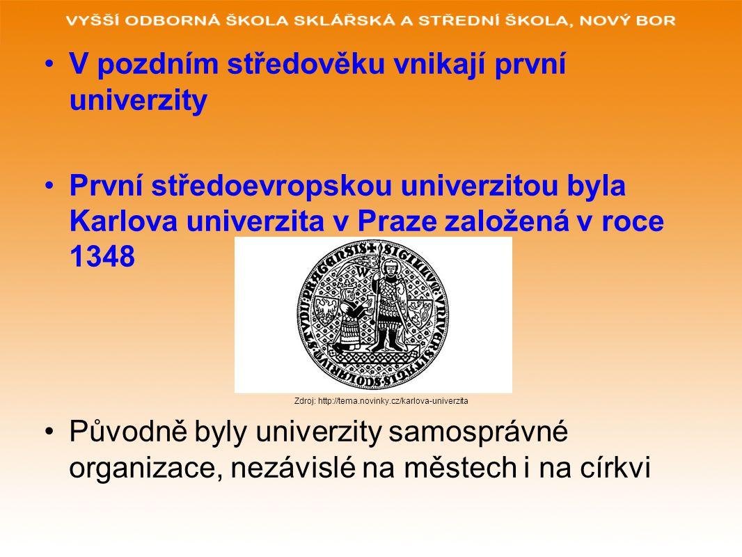 V pozdním středověku vnikají první univerzity