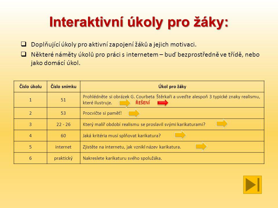 Interaktivní úkoly pro žáky: