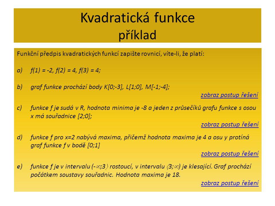 Kvadratická funkce příklad