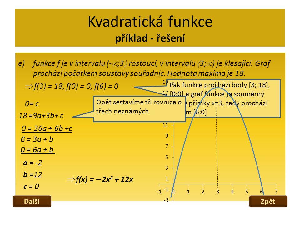 Kvadratická funkce příklad - řešení