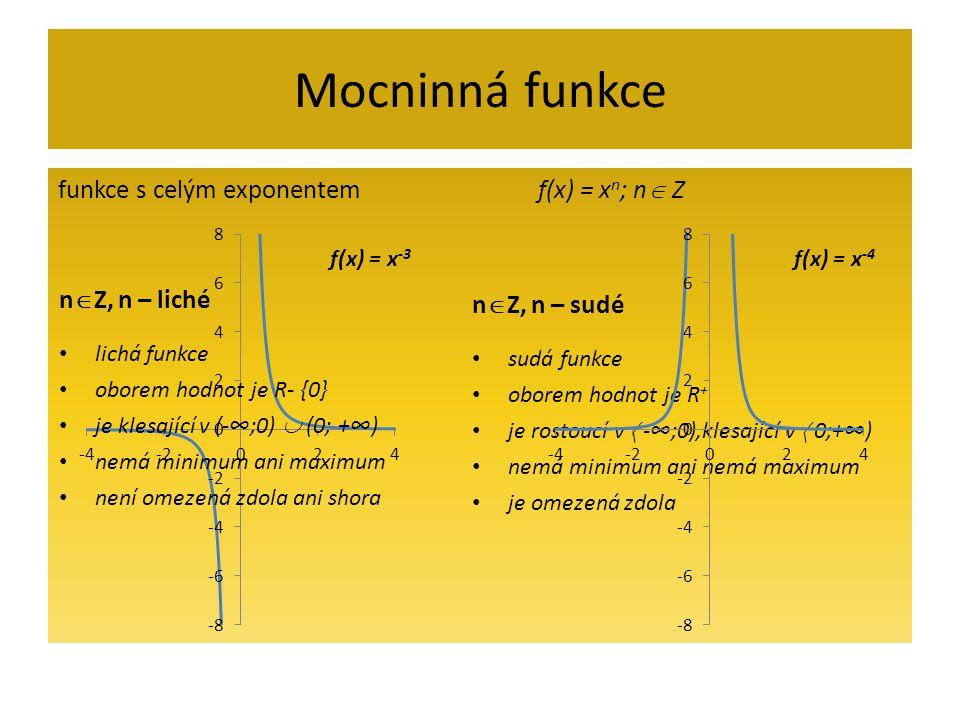 Mocninná funkce nZ, n – liché nZ, n – sudé