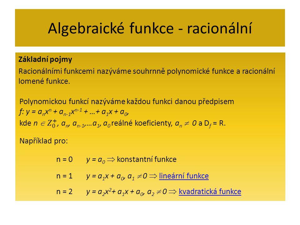 Algebraické funkce - racionální