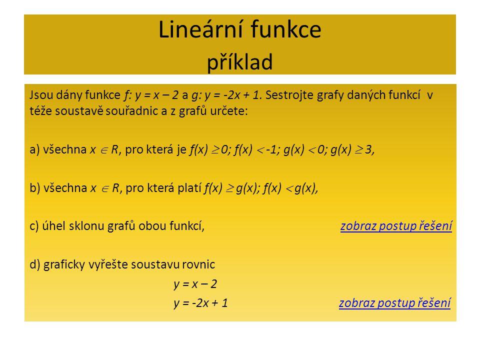 Lineární funkce příklad
